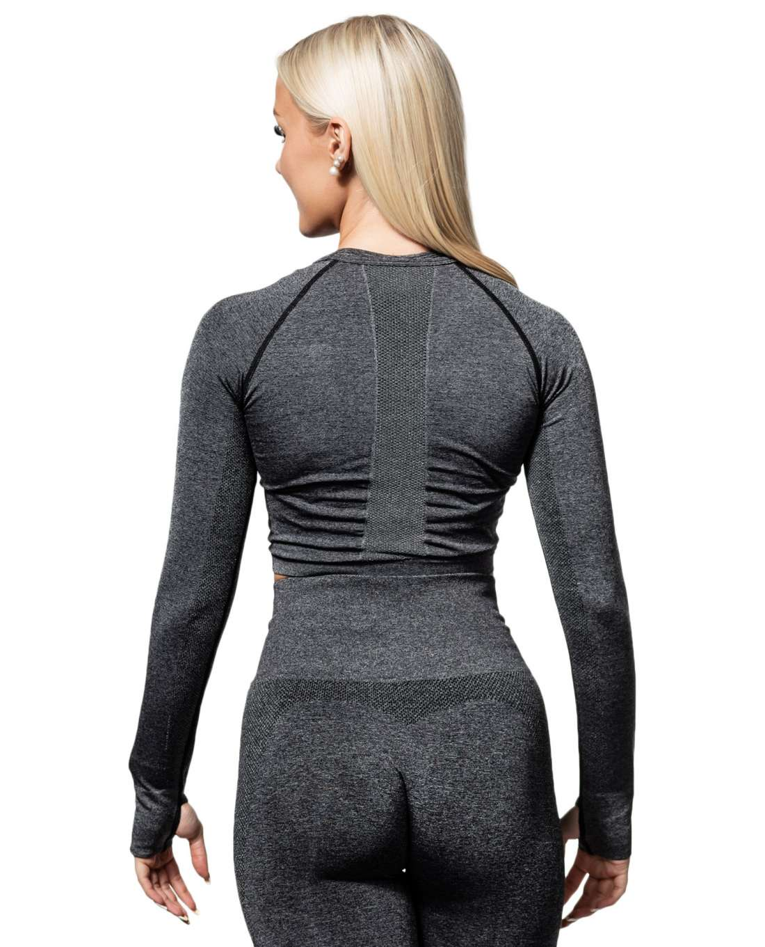 Seamless Long Sleeve Crop Gray Ryderwear