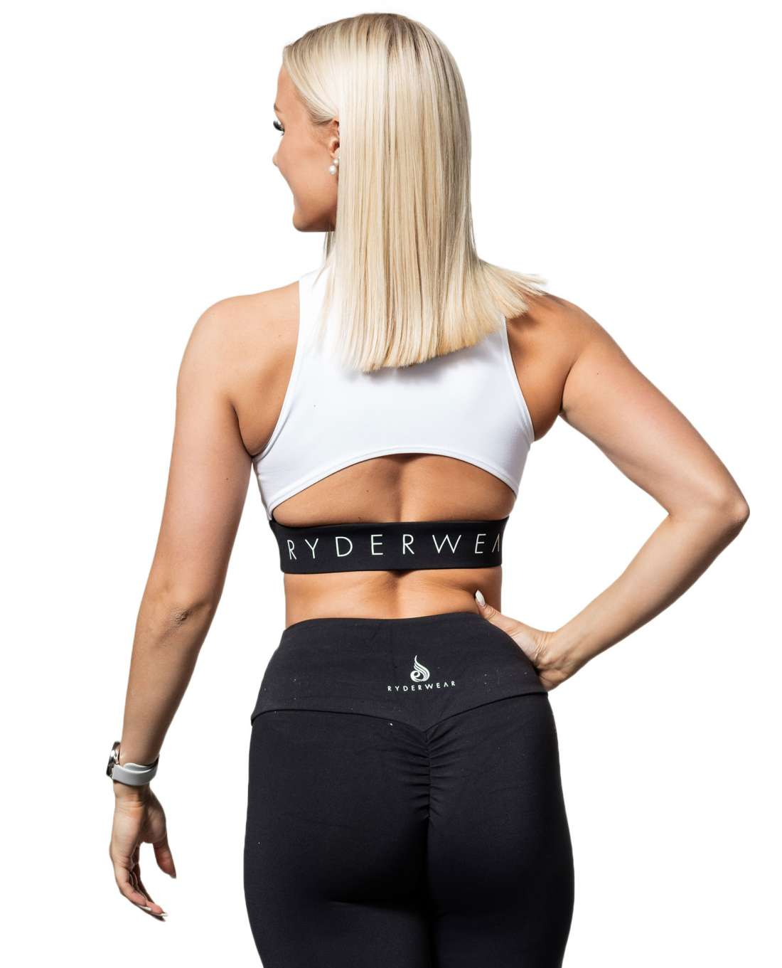 Block Banded Crop White Ryderwear